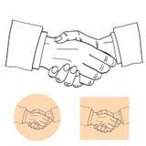 Los hombres de negocios sacuden el ejemplo del vector de la silueta de las manos socios ilustración del vector