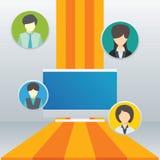 Los hombres de negocios sirven y los elementos del icono de la mujer, concepto del trabajo en equipo Foto de archivo