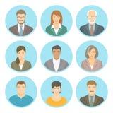 Los hombres de negocios vector a los avatares planos masculinos y femeninos Imagen de archivo