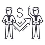 Los hombres de negocios y el éxito representan la línea icono, muestra, ejemplo del vector gráficamente en el fondo, movimientos  libre illustration
