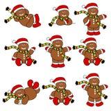 Los hombres de pan de jengibre lindos festivos fijaron libre illustration