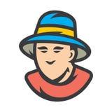 Los hombres del sombrero del cubo firman ilustración del vector