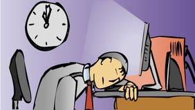 Los hombres duermen en el ordenador stock de ilustración