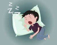 Los hombres duermen, las almohadas de la ayuda y ronquido stock de ilustración