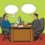 Los hombres en oficina hablan vector retro del estilo del arte pop ilustración del vector