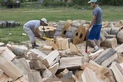 Los hombres jovenes partieron la madera en Rumania Fotografía de archivo