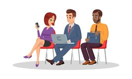 Los hombres multirraciales y la mujer, graduados se sientan en sillas en cola antes de entrevista de trabajo Vacante libre stock de ilustración