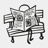 Los hombres o las figuras del palillo leyeron el periódico Fotografía de archivo libre de regalías