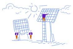 Los hombres que instalan al equipo del negocio de los recursos energéticos de alternativa del panel solar que trabaja bosquejo de stock de ilustración
