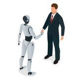 Los hombres y el robot saludan o confirman un trato, apretón de manos Ejemplo isométrico plano del vector 3d Para el infographics stock de ilustración