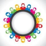Los hombres y las mujeres coloridos de negocios arreglan en mesa redonda libre illustration
