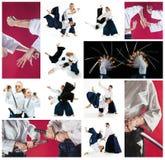 Los hombres y las mujeres que luchan en el entrenamiento del Aikido en escuela de artes marciales Forma de vida y concepto sanos  Foto de archivo