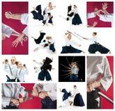 Los hombres y las mujeres que luchan en el entrenamiento del Aikido en escuela de artes marciales Forma de vida y concepto sanos  Imagen de archivo libre de regalías