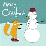 Los hristmas del ¡de Ð fox y un muñeco de nieve con un cielo y poner letras chispeantes de la nariz de la zanahoria fotos de archivo