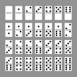 Los huesos de los dominós fijaron 28 pedazos para el juego Fotos de archivo libres de regalías