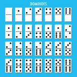 Los huesos de los dominós fijaron 28 pedazos para el juego Imagenes de archivo