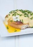 Los huevos Benedicto tostaron los huevos escalfados y holla del jamón de los molletes ingleses Foto de archivo