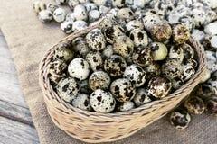 Los huevos de codornices mucha adentro cesta y montón descascan los huevos de codornices en sackc Fotografía de archivo libre de regalías