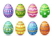 Los huevos de Pascua coloridos fijaron Fotografía de archivo
