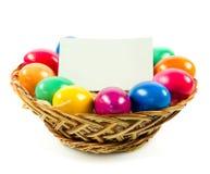 Los huevos de Pascua en busket en gras verdes aislaron el concepto holyday Foto de archivo libre de regalías