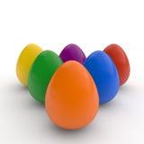 Los huevos de Pascua felices, cartel, colorearon los huevos realistas, fondo blanco, tarjeta del día de fiesta, aislada Fotografía de archivo libre de regalías