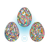 Los huevos de Pascua fijaron el fondo Ejemplo abstracto dibujado mano de los días de fiesta