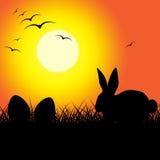 Los huevos de Pascua indican a Bunny Rabbit And Copy Fotos de archivo libres de regalías