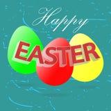 Los huevos de Pascua, Pascua feliz, diseñan tres huevos brillantes Imagen de archivo