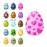 Los huevos de Pascua pintados con la primavera modelan el ejemplo coloreado multi del vector del juego del día de fiesta del alim ilustración del vector