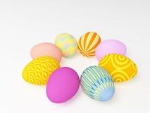 Los huevos de Pascua pintados en diversos colores Foto de archivo libre de regalías