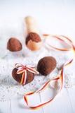 Los huevos de Pascua se apelmazan, los molletes del chocolate egg formado, atado con el riibbon Foto de archivo libre de regalías