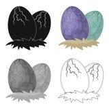 Los huevos del icono del dinosaurio en historieta diseñan aislado en el fondo blanco Dinosaurios y vector prehistórico de la acci ilustración del vector