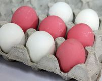 Los huevos se arreglan en filas imagen de archivo