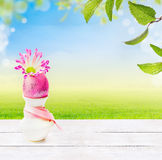 los huevos, tabla de madera blanca en el fondo del verde del cielo, de la hierba y de la primavera se van Imagen de archivo libre de regalías