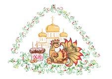 Los huevos y pollo, iglesias y catedrales, estilo ruso Khokhloma de Pascua - de Pascua Foto de archivo