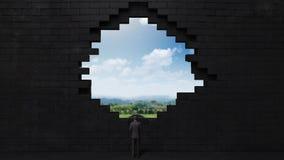 Los hundimientos de la pared, creando un agujero Hombre de negocios que se coloca en alta manera stock de ilustración