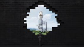 Los hundimientos de la pared, creando un agujero Hombre de negocios que se coloca en alta manera, camino edificios de la estructu ilustración del vector
