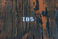 Los ibs de la palabra escritos en las letras de molde blancas imagenes de archivo
