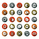 Los iconos abstractos de las casas, se pueden utilizar en la publicidad y como brandin Imagenes de archivo