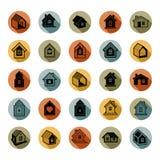 Los iconos abstractos de las casas, se pueden utilizar en la publicidad y como brandin Imagen de archivo