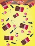 Los iconos abstractos de los dulces fijaron con los caramelos, barras de chocolate sobre un fondo amarillo stock de ilustración