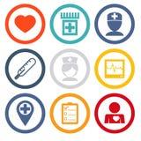 Los iconos aislados fijaron asistencia médica y salud Foto de archivo libre de regalías