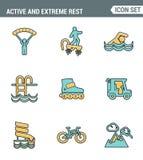 Los iconos alinean calidad superior determinada del estilo de vida activo y extremo de la afición de los deportes del fin de sema libre illustration