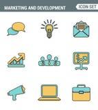 Los iconos alinean el símbolo digital del márketing de la calidad superior determinada, artículos del desarrollo de negocios, mob Fotografía de archivo libre de regalías