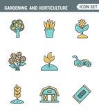 Los iconos alinean la calidad superior determinada de cultivar un huerto y las semillas de la horticultura florecen la flora flor Foto de archivo libre de regalías