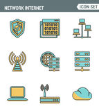 Los iconos alinean la calidad superior determinada de la red de computación de la nube, tecnología de los datos de Internet Estil Fotografía de archivo