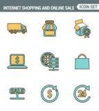 Los iconos alinean la calidad superior determinada de las compras de Internet, de la tienda al por menor y de ventas en línea Est Foto de archivo libre de regalías