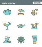 Los iconos alinean la calidad superior determinada de las vacaciones mundiales de la naturaleza del viaje del salto del día de fi Fotografía de archivo