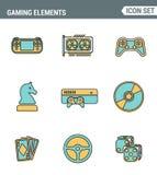 Los iconos alinean la calidad superior determinada de los objetos clásicos del juego, elementos móviles del juego Estilo plano de libre illustration