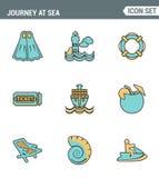 Los iconos alinean la calidad superior determinada del viaje en el salto tropical de las vacaciones del verano del mar Estilo pla Imagen de archivo libre de regalías